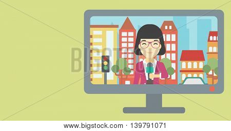Television set broadcasting the news with an asian reporter on a city background. Vector flat design illustration. Horizontal layout.
