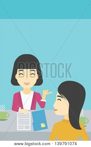 An asian female journalist interviewing a young man on a light blue background. Vector flat design illustration. Vertical layout.