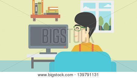 An asian young man sitting on the couch in living room and watching tv. Vector flat design illustration. Horizontal layout.