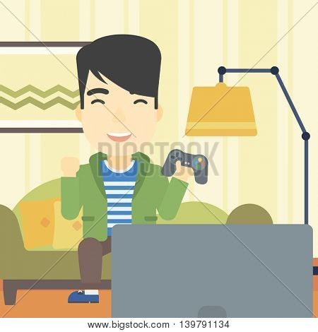An asian happy gamer playing video game on the television. An excited young man with console in hands playing video game at home. Vector flat design illustration. Square layout.