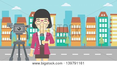 An asian reporter with microphone standing on a background with camera. TV reporter presenting the news. TV transmission with a reporter. Vector flat design illustration. Horizontal layout.