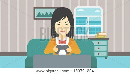 An asian aggressive gamer playing video game on the television and losing. An angry young woman with console in hands playing video game at home. Vector flat design illustration. Horizontal layout.