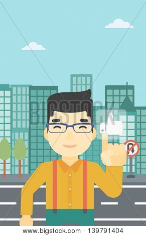 An asian young man pressing like button. Man pressing modern social button with thumb up. Man pressing social network buttonon a city background. Vector flat design illustration. Vertical layout.