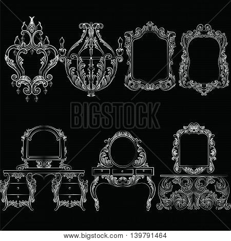 Vector Baroque furniture set. French Luxury rich carved ornaments furniture.Victorian Royal Style furniture. White on black