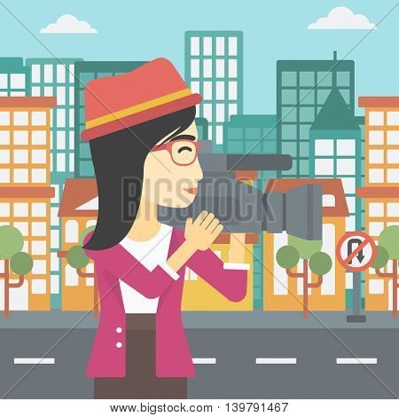 An asian young female cameraman looking through movie camera. Woman with professional video camera in the city. Woman shooting outdoor. Vector flat design illustration. Square layout.