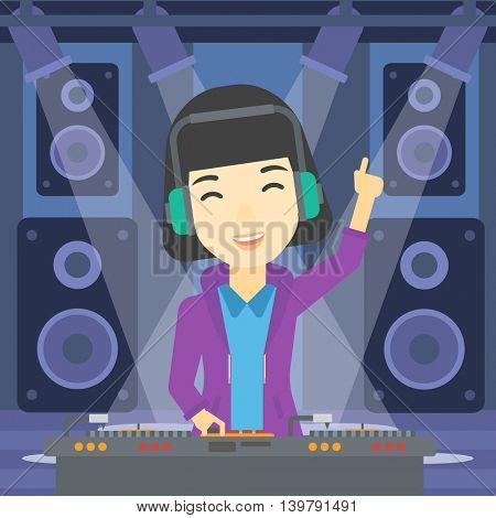 An asian young DJ mixing music on turntables on the stage of nightclub. DJ playing and mixing music on deck with vinyl record. Vector flat design illustration. Square layout.