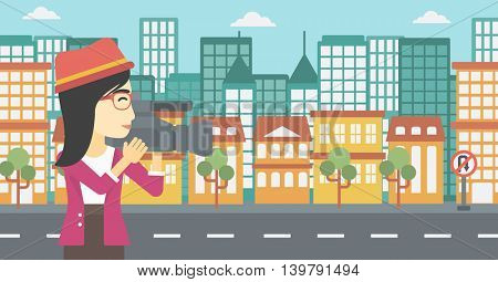 An asian young female cameraman looking through movie camera. Woman with professional video camera in the city. Woman shooting outdoor. Vector flat design illustration. Horizontal layout.