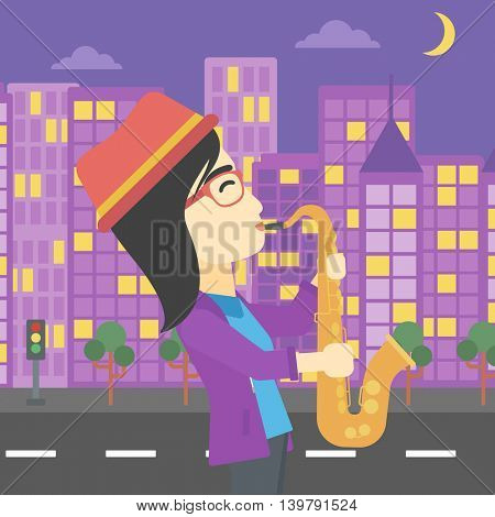 An asian musician playing on saxophone. Woman playing on saxophone in the night. Young woman with saxophone in the city street. Vector flat design illustration. Square layout.