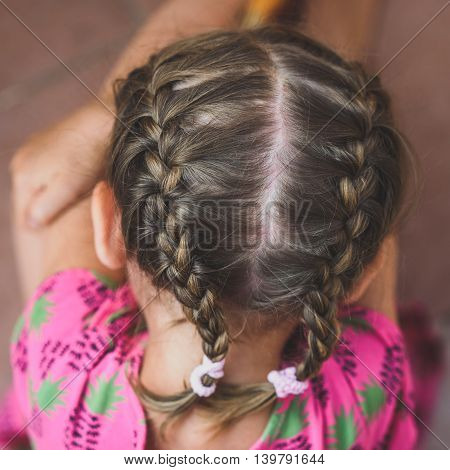 Braids On Little Girl's Head.
