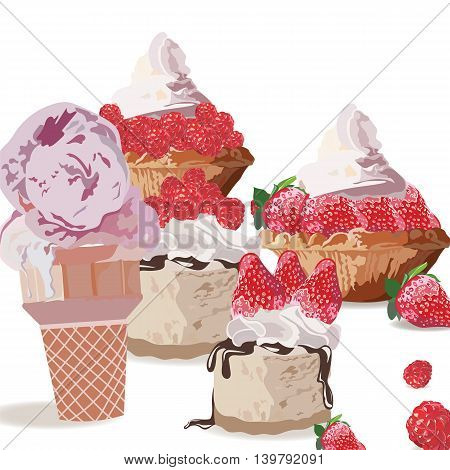 Sweet treats delicious ice cream and cakes. Vector realistic strawberry and raspberry fruit cakes illustration