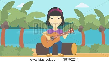 An asian happy musician sitting on log and playing an acoustic guitar. Woman practicing in playing guitar. Guitarist playing on the beach. Vector flat design illustration. Horizontal layout.