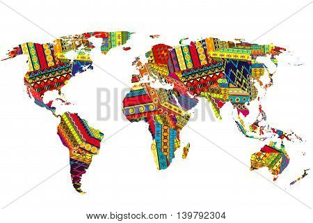 World map with ethnic motifs patchwork on white background