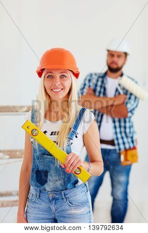 portrait of repair service team at work