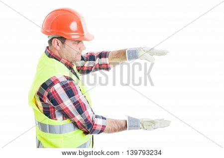 Handsome Builder Holding Something On His Palms
