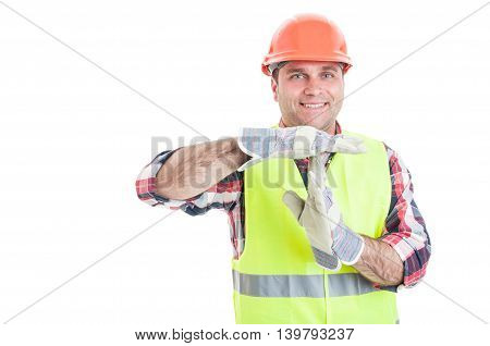 Cheerful Constructor Doing A Timeout Gesture