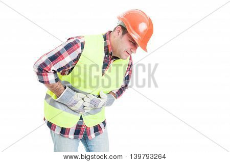 Health Problem Concept With Builder Having Tummy Pain