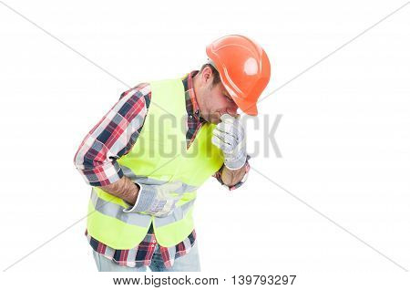 Builder With Stomach Problem Is About To Vomit