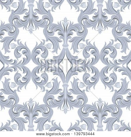 Vintage Vector Baroque Luxury ornament pattern. Damask Victorian Rich Rococo pattern. Elegant Luxury texture for textile tile and page fill. Serenity color pattern