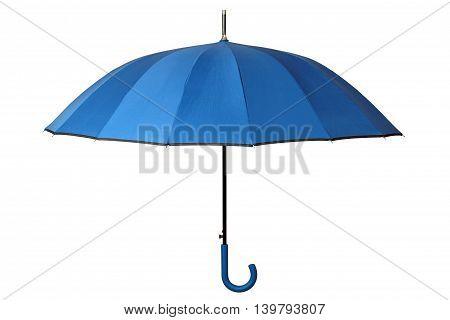 Open blue umbrella isolated on white background