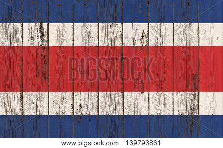 Flag of Costa Rica painted on wooden frame