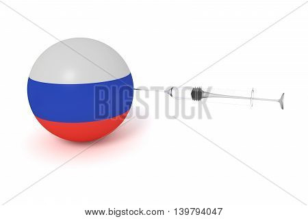 Doping: Russian flag sphere with a syringe 3d illustration