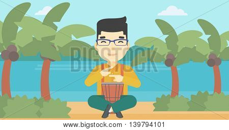 An asian man playing ethnic drum. Mucisian playing ethnic drum on the beach. Man playing ethnic music on tom-tom. Vector flat design illustration. Horizontal layout.