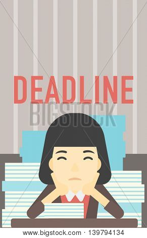 An asian stressed business woman sitting at the table with stacks of papers. Business woman having problem with deadline. Deadline concept. Vector flat design illustration. Vertical layout.