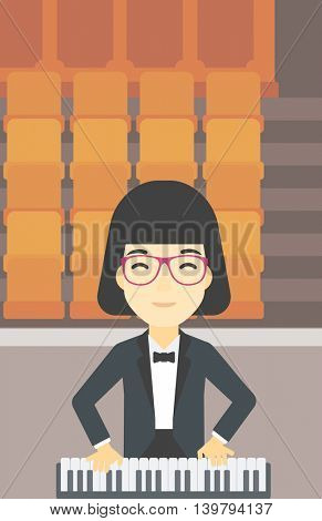An asian smiling musician playing piano. Pianist playing upright piano. Female artist playing on synthesizer. Vector flat design illustration. Vertical layout.
