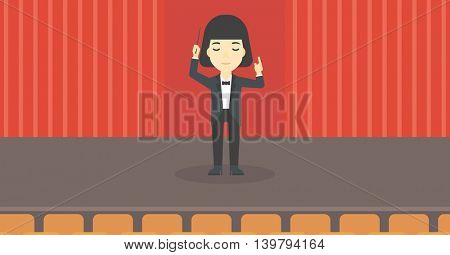 An asian young orchestra conductor directing with baton. Concentrated woman conducting an orchestra on the stage. Vector flat design illustration. Horizontal layout.