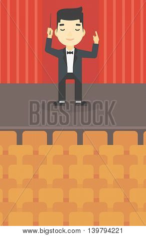 An asian young orchestra conductor directing with baton. Concentrated man conducting an orchestra on the stage. Vector flat design illustration. Vertical layout.