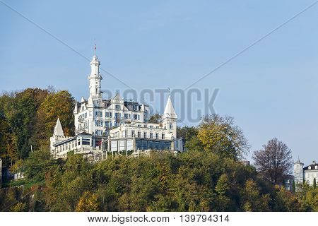 Famous hotel located on a hill overlooking the city of Lucerne in Switzerland