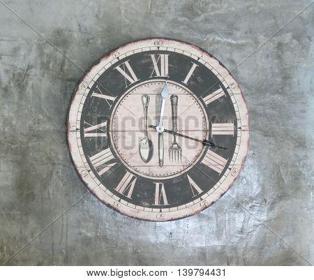 clock vintage on wall Loft style .