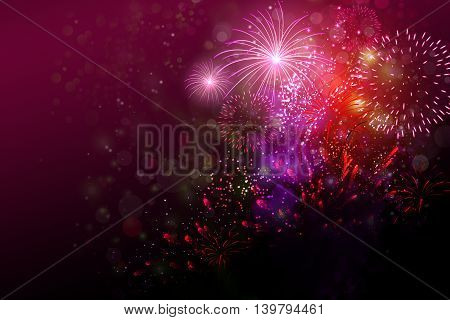 Colorful fireworks with some copy space to the left