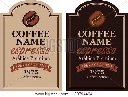 design label for coffee beans with cup in retro
