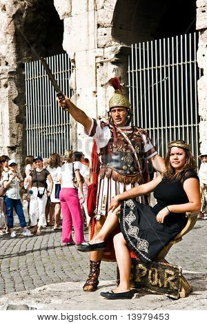 The Roman legionary in ancient armour and his woman