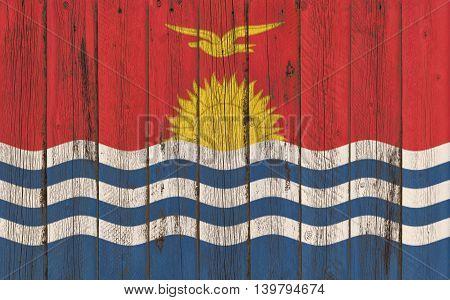 Flag of Kiribati painted on wooden frame