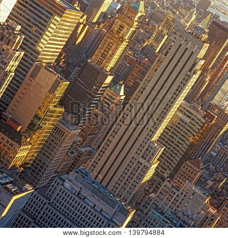 Aerial view of the New York City at sunny day.