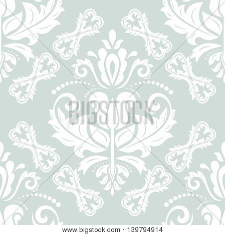 Seamless damask vector pattern. Traditional classic orient ornament. Light blue and white pattern