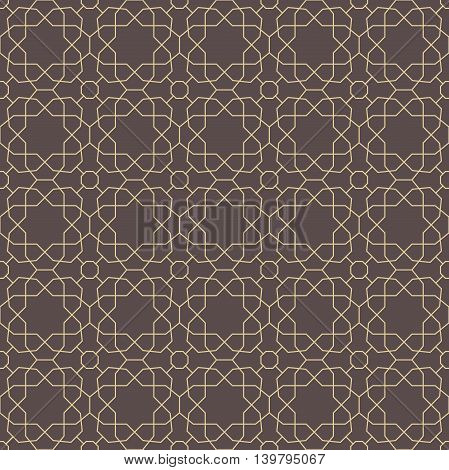 Seamless geometric pattern for your designs and backgrpounds. Modern vector ornament with repeating elements. Brown and golden pattern