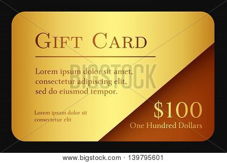 Luxury simple gift card in gold color and chocolate corner as decoration