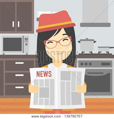An asian happy woman reading the newspaper. Young smiling woman reading good news. Woman with newspaper in hands on the background of kitchen. Vector flat design illustration. Square layout.