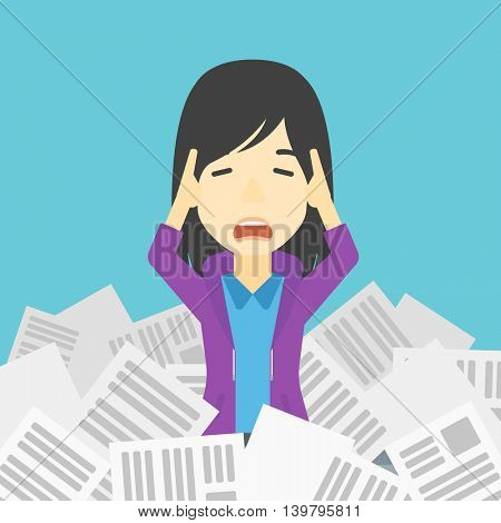 An asian stressed business woman clutching her head because of having a lot of work to do. Busy business woman with lots of papers. Vector flat design illustration. Square layout.