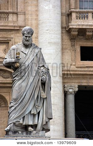 Sculpture of St. Peter in Vatican. Europe.