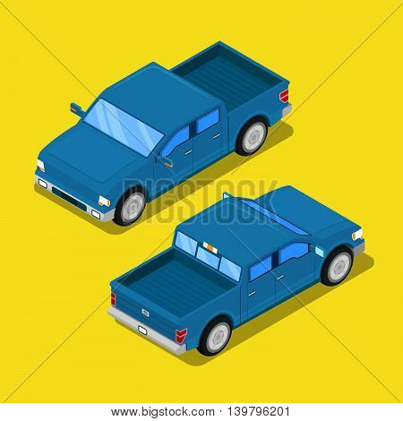 Isometric Offroad Pick-up Car in Retro Style. Vector illustration