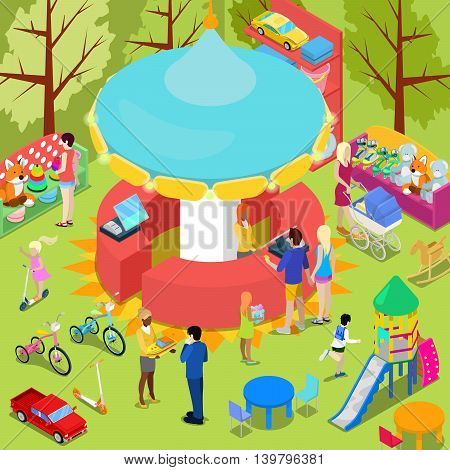 Isometric Children Toys Shop Interior with Toys and People. Vector illustration