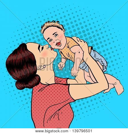 Happy Mother Kissing Her Smiling Baby Boy. Pop Art. Vector illustration