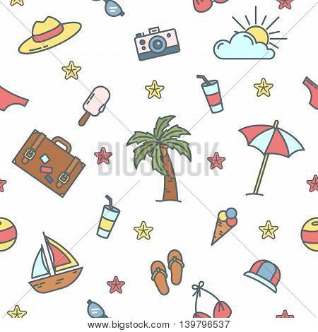 Summer Time. Sea Vacation Seamless Pattern with Palm Tree and Swimsuit. Vector background