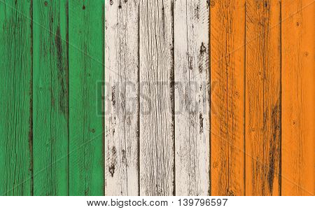 Flag of Ireland painted on wooden frame