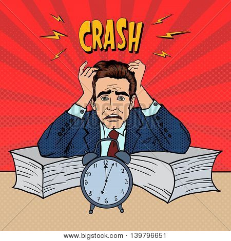 Stressed Businessman Sunk Up in Paperwork. Pop Art. Vector illustration