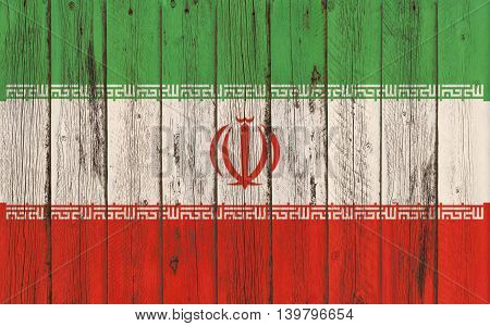 Flag of Iran painted on wooden frame